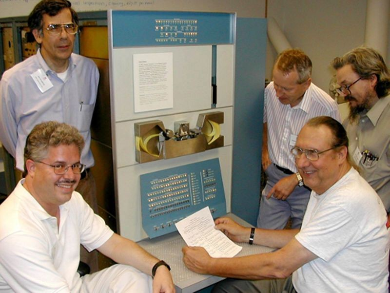 Computer History Museum PDP-1 restoration team members (left to right): Joe Fredrick, Bob Lash, Lyle Bickley, Rafael Skodlar, and R. Tim Coslet