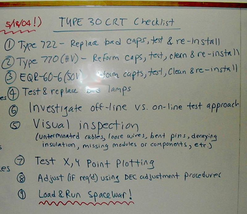 Type 30 display checklist from the DEC PDP-1 restoration project (2003-2006)