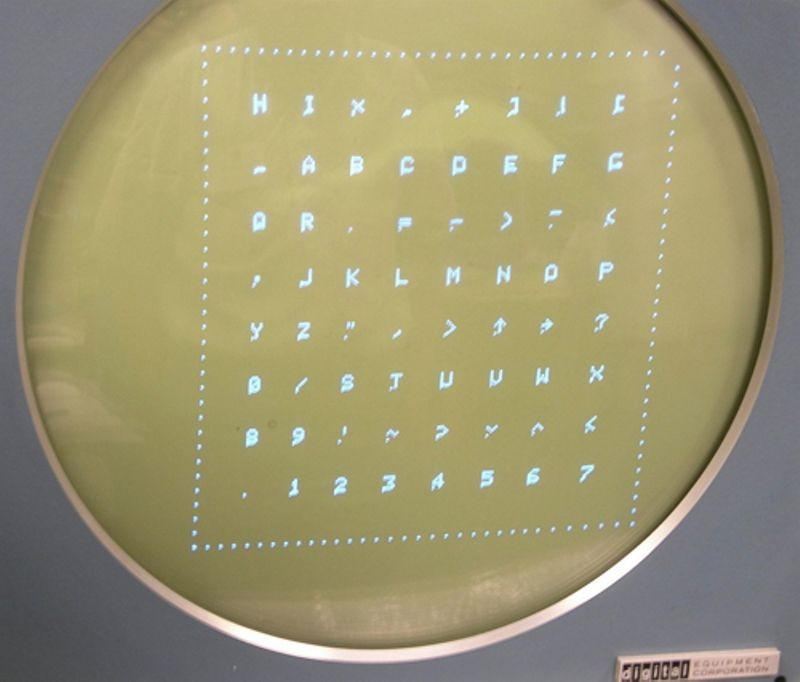 Test characters on Type 30 display as part of the DEC PDP-1 restoration project
