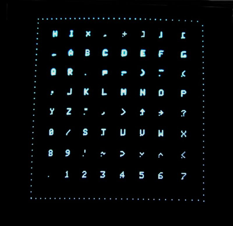 Character test pattern on Type 30 display as part of the DEC PDP-1 restoration project