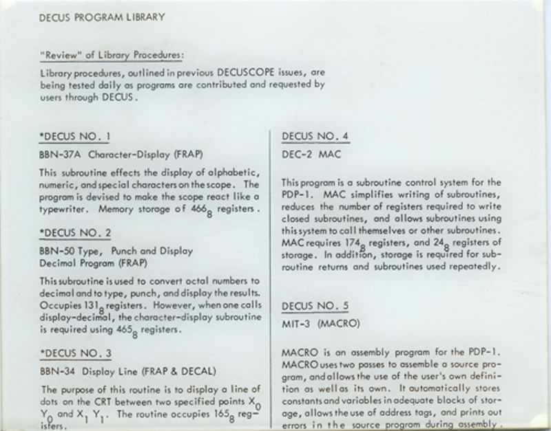DECUS program library procedures for PDP-1