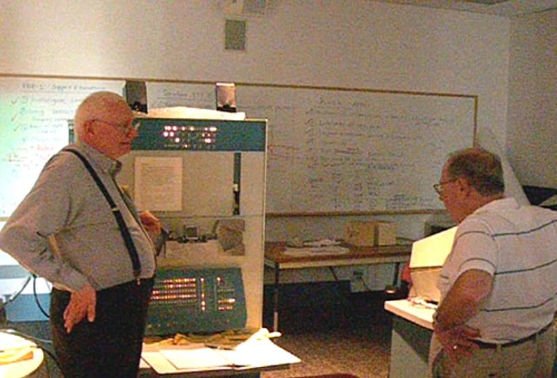 Peter Samson plays music for Alan Kotok and rest of PDP-1 restoration team during the Computer History Museum PDP-1 restoration project