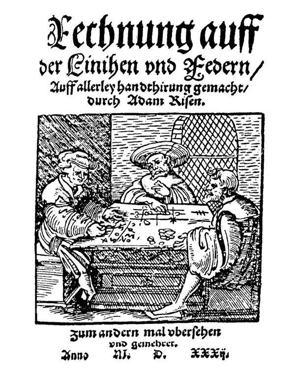 Title Page Adam Ries Rechnung Auff Der Linihen Und Feder