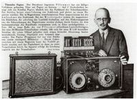 Fritz Pfleumer with his magnetic tape machine (1931)