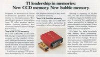TI Advertisement for CCD and Bubble memories (1977)