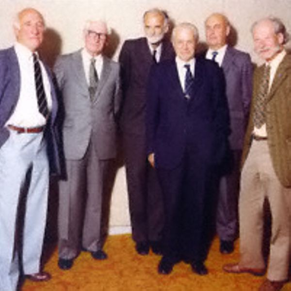 The Colossus team in 1981. A.W.M. Coombs, T.H. Flowers, A.C. Lynch, W.W. Chandler, N.T. Thurlow, H.W. Fensom
