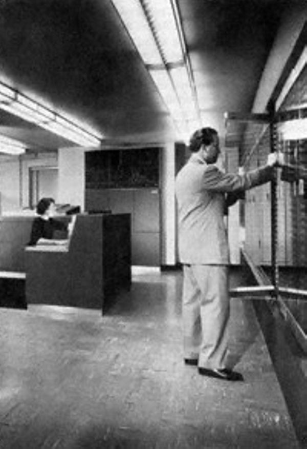 NORC as completed at the Watson Laboratory in 1954. Byron L. Havens, the chief engineer, is in the foreground