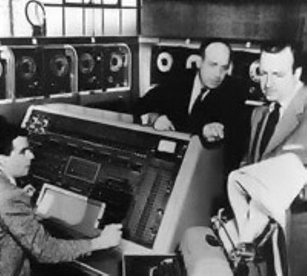 J. Presper Eckert and Walter Cronkite discuss the UNIVAC prediction