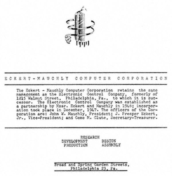 The back cover of the UNIVAC brochure