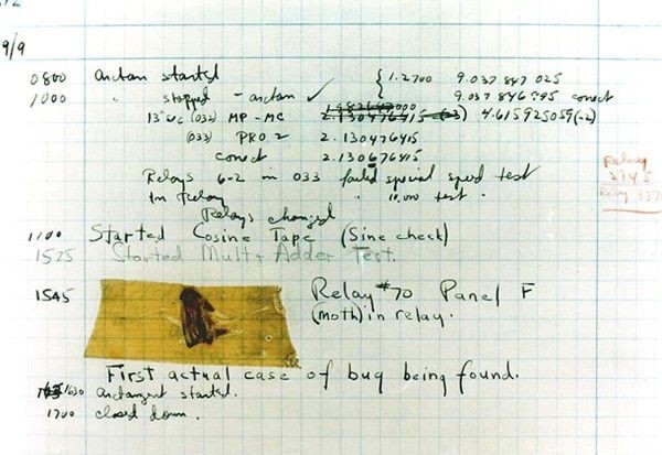 First Instance of Actual Computer Bug Being Found