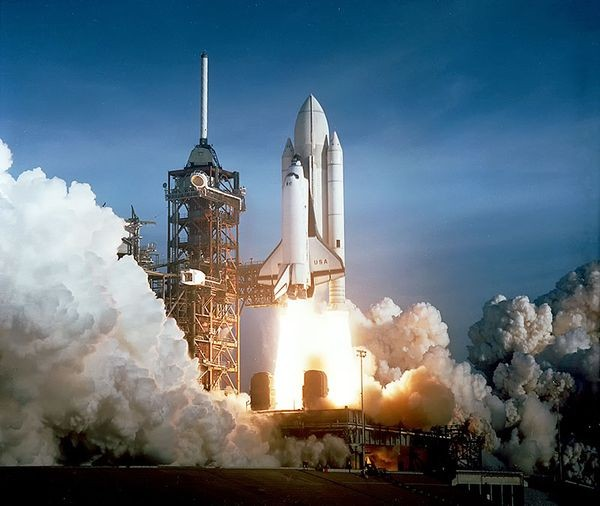 The April 12 launch of the space shuttle Columbia - the first orbital flight of the shuttle program