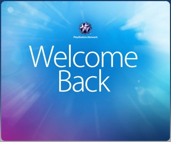 Welcome screen after PlayStation Network restoration