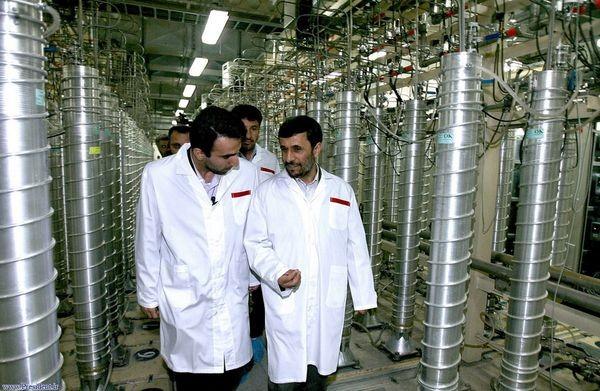 Former Iranian President Mahmoud Ahmadinejad inspecting uranium enrichment centrifuges