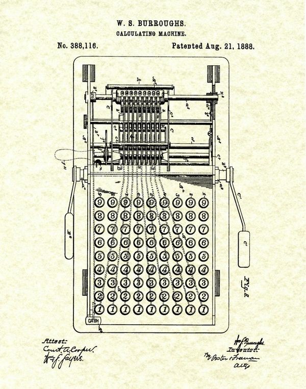Burroughs Receives Patent for Calculating Machine