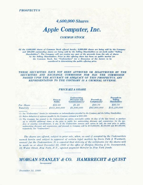 Apple Computer's Initial Public Offering