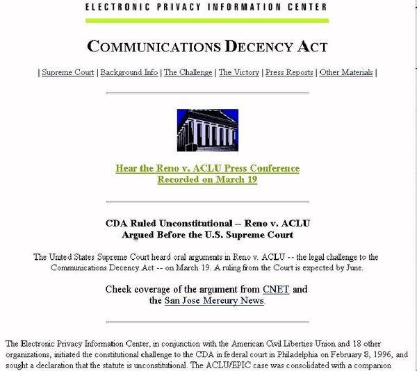 Communications Decency Act Declared Unconstitutional