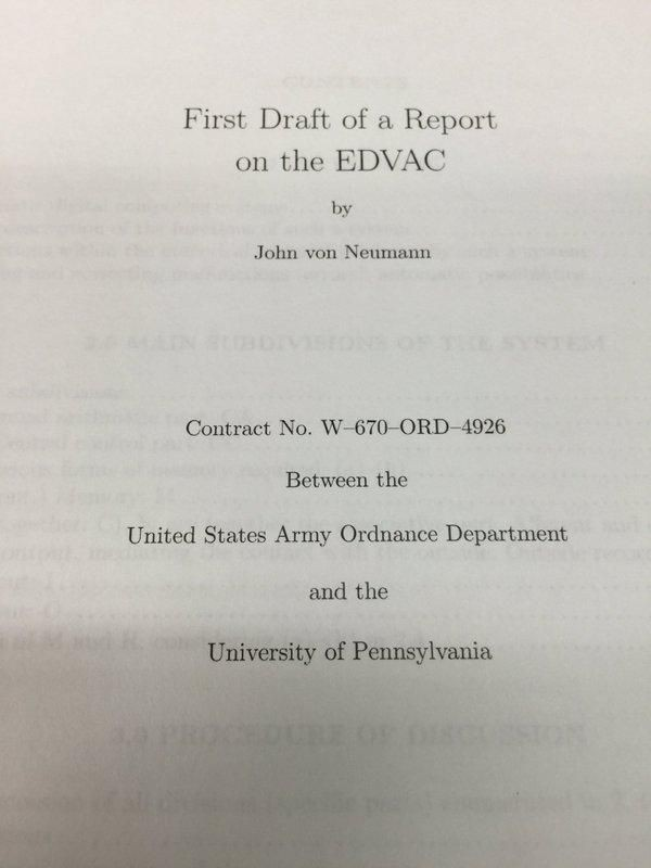"""First Draft of Report on EDVAC"" Published"