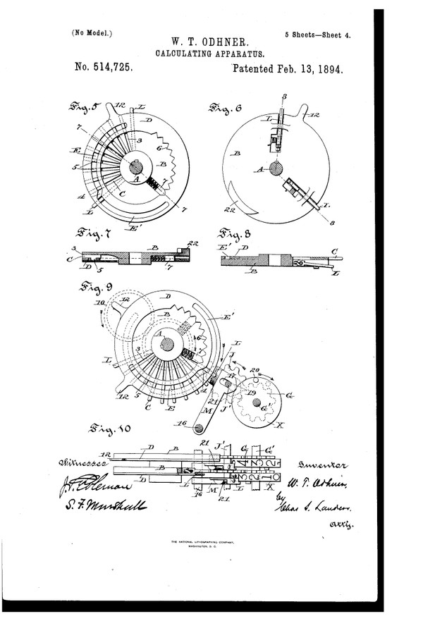 Willgodt T. Odhner Was Granted a Patent for a Calculating Machine That Performed Multiplications by Repeated Additions